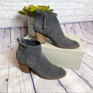 Dolce Vida perforated stacked heel ankle boot